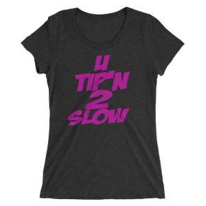 Ladies' short sleeve t-shirt-black (U Tip'n 2 Slow-pink)