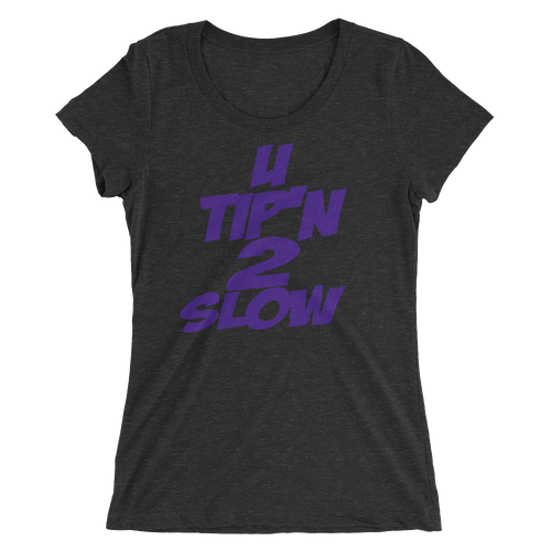 Ladies' short sleeve t-shirt-black (U Tip'n 2 Slow-purple)