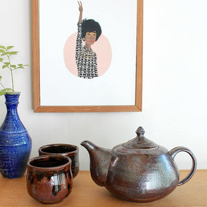 reclaimed clay, stoneware, iron-glaze teapot. wheelthrown