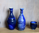 cobalt vases, soda-fired