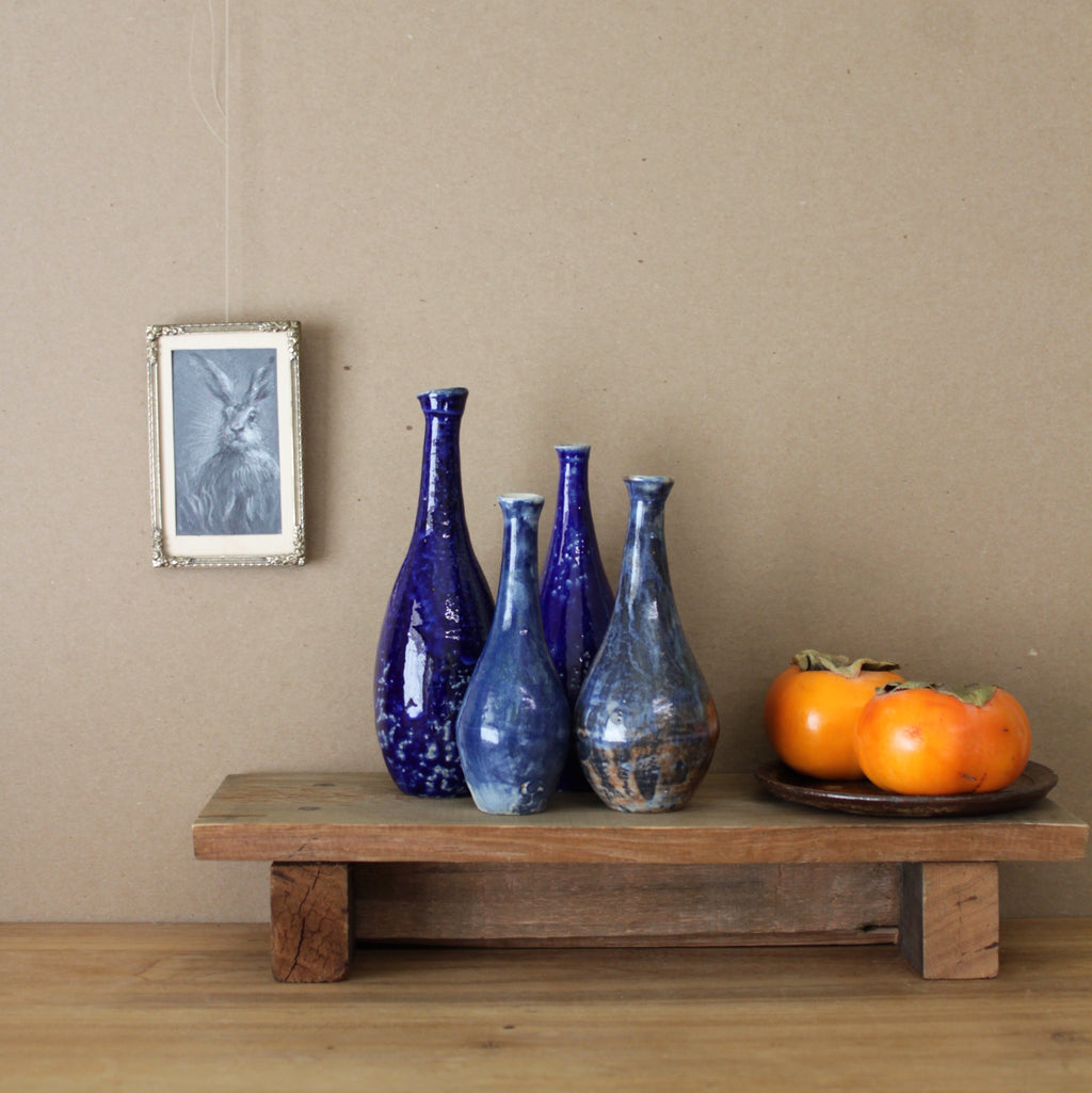 Sisters Ceramics Collection: high-fire cobalt vase set. rabbit drawing. persimmons