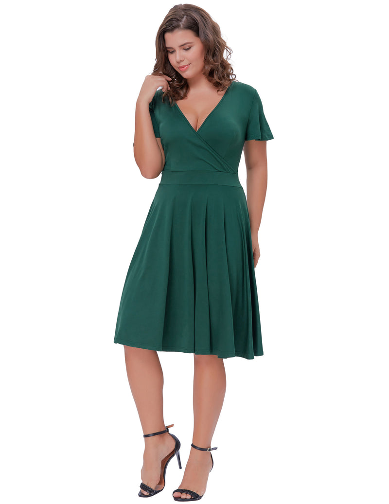 Women V-Neck A-Line Vintage Cocktail Dress - Hanna Nikole
