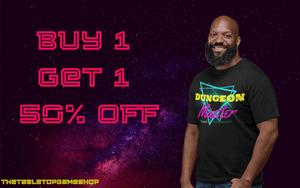 Buy 1 apparel item, get the 2nd at 50% OFF | TheTabletopGameShop - the best D&D metal dice in the universe