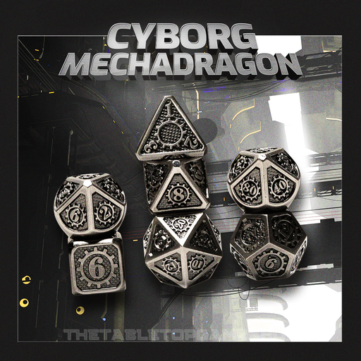Cyborg Mechadragon - Metal RPG Dice Set