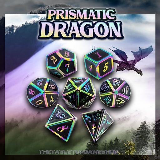 Prismatic Dragon - Metal Dnd Dice Set