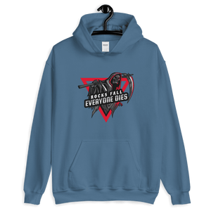 D&D Hoodie Blue - Rocks fall, everyone dies