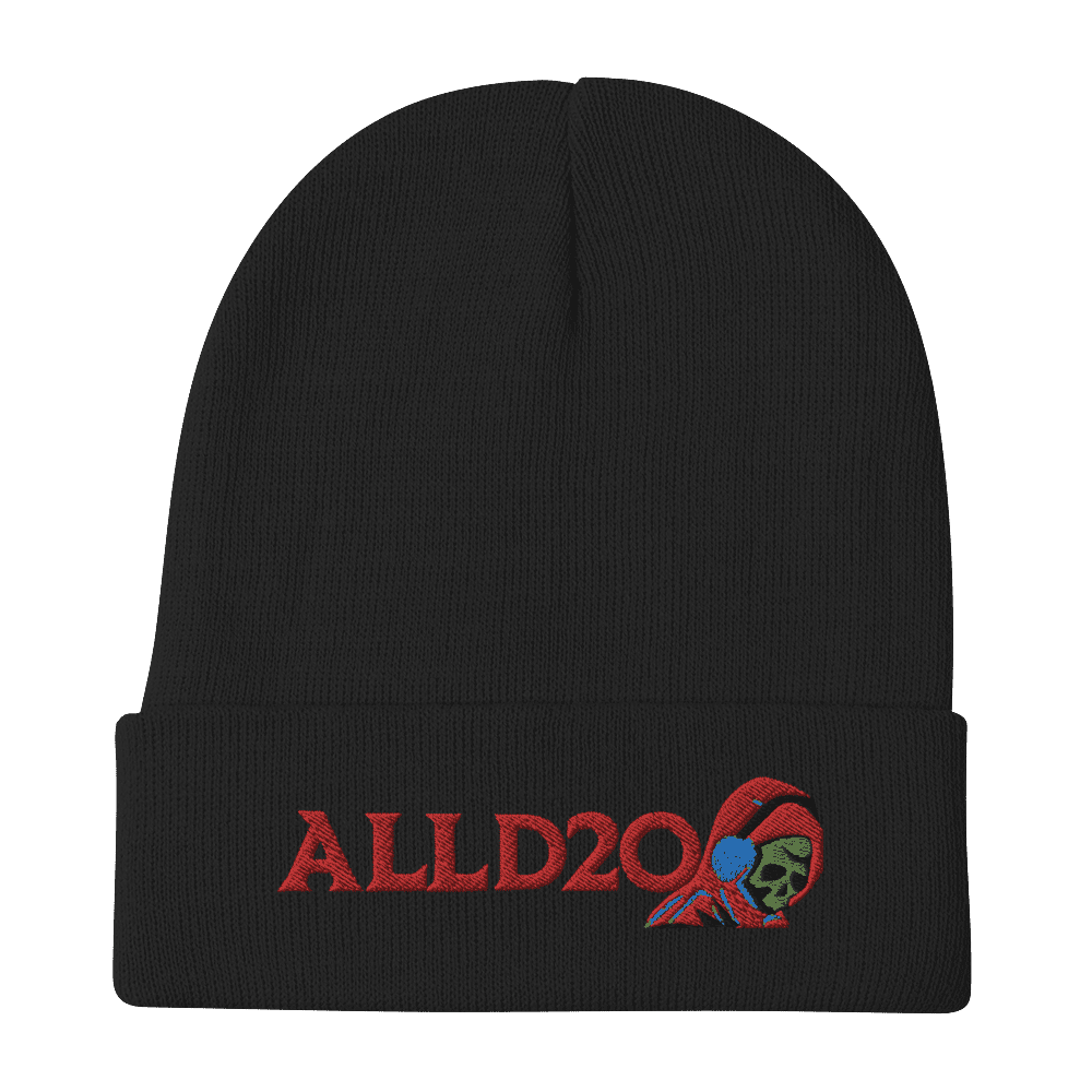 ALLD20 Podcast Beanie, Black base with red stitched logo