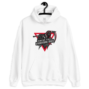 D&D Hoodie White - Rocks fall, everyone dies