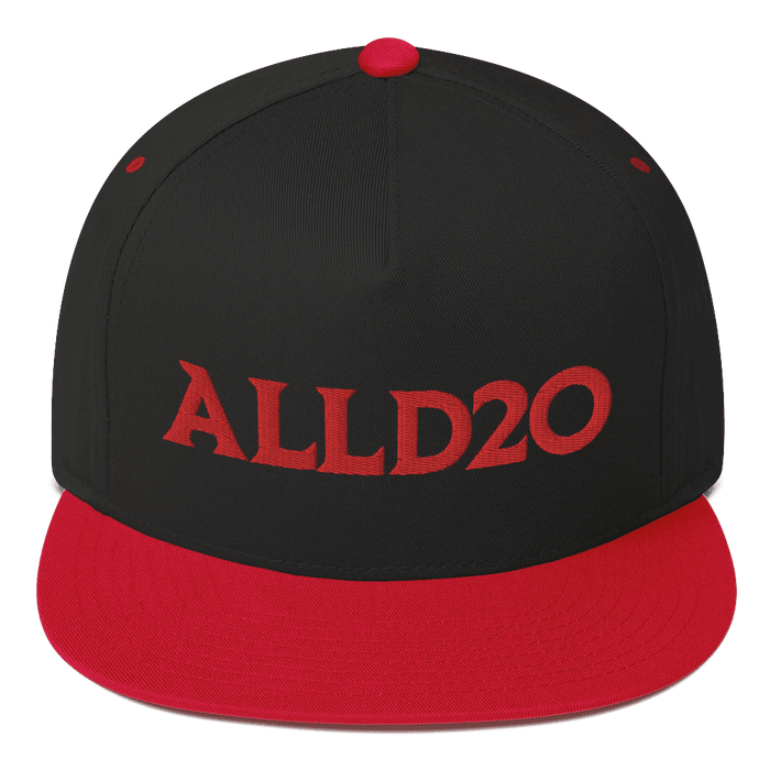 ALLD20 Snapback Hat, Black base with red brim and red stitched logo