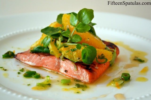 Agave Brushed Salmon with Orange Watercress Salad