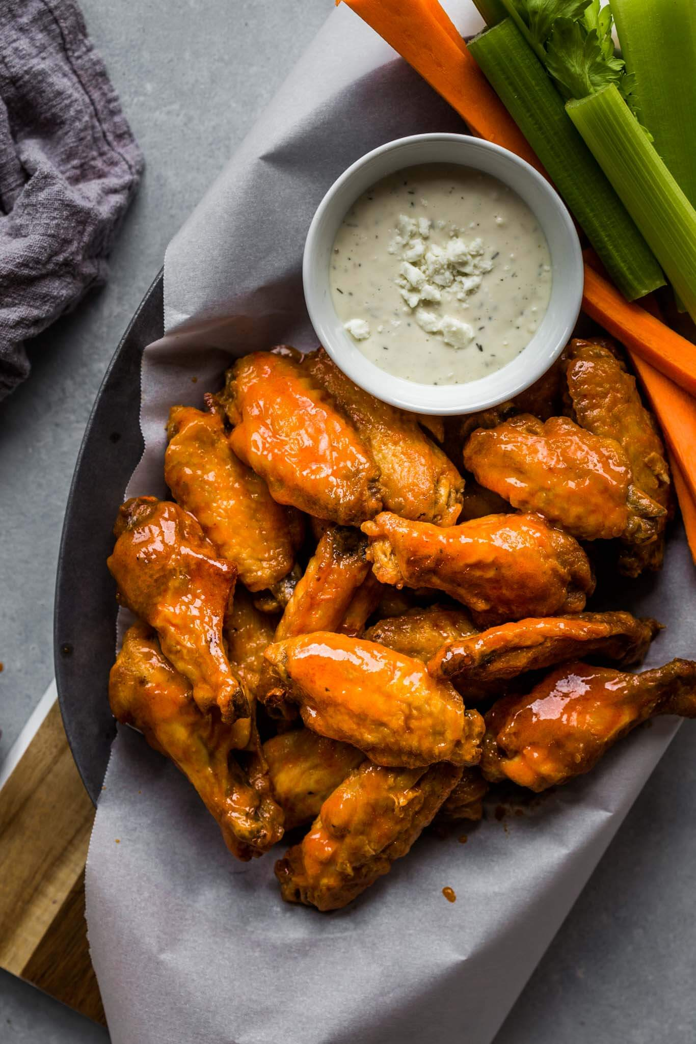 Air Fryer Chicken Wings with Buffalo Sauce