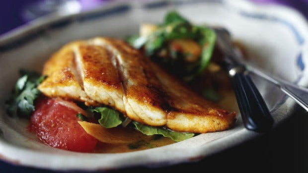 Baked Barramundi Fillets with Tomato, Ginger and Coriander