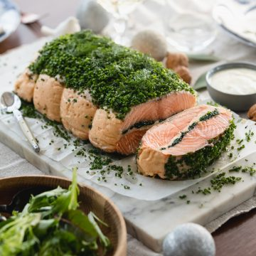 Baked Huon Salmon, Stuffed with Salmon Mousse and Spinach