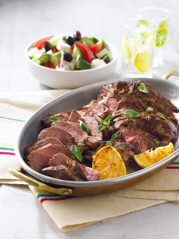 Barbecued Lamb Shoulder with a Greek Salad