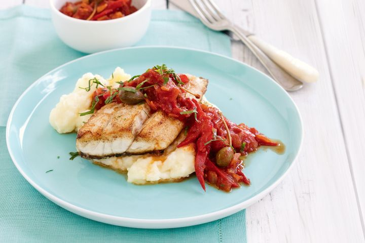 Barramundi with Tomato Caperberry Sauce and Mash