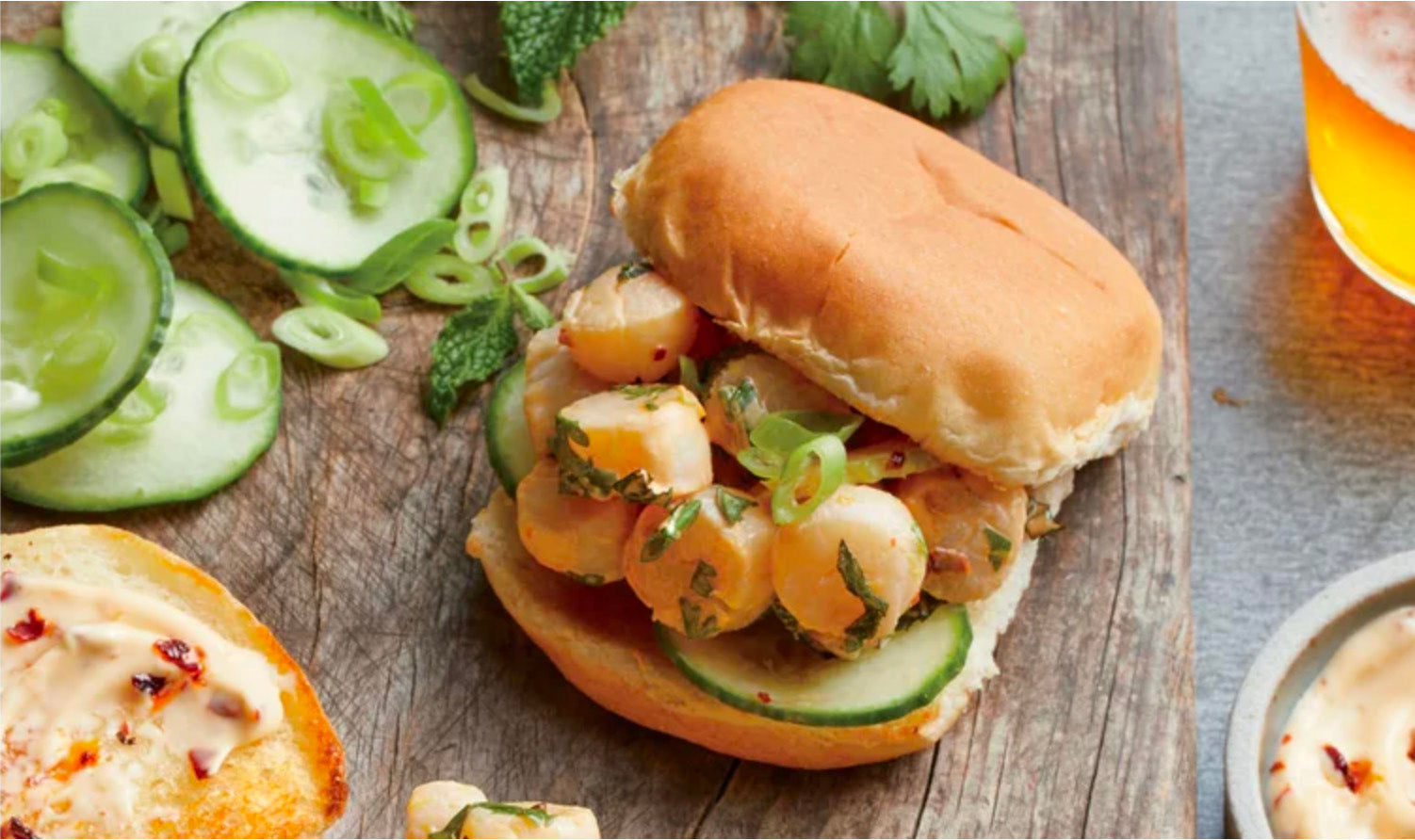 Bay Scallop Salad Sliders with Chile Mayo