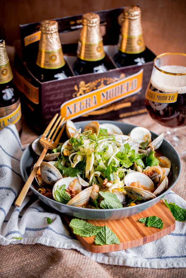Beer Steamed Clams with Chorizo and Shaved Fennel