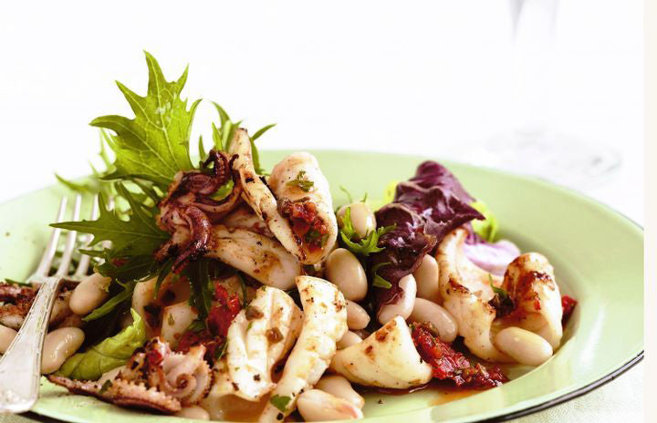 Calamari and Cannellini Bean Salad with Tomato-Caper Dressing