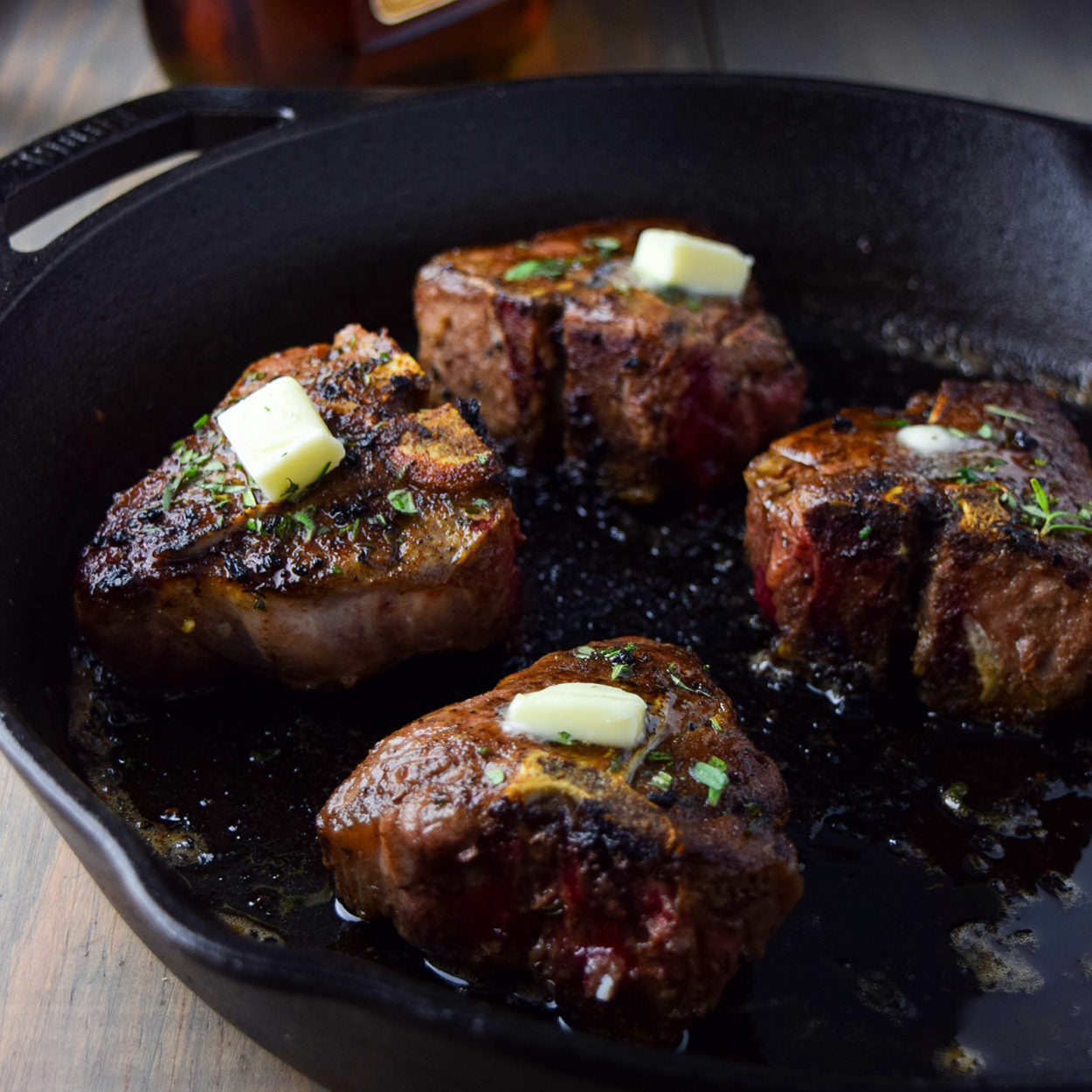 Cast Iron Lamb Loin Chops with Cognac Butter Sauce