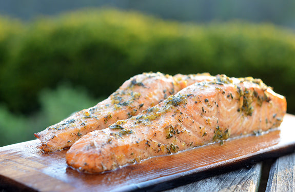 Cedar Planked Salmon with Lemon, Garlic & Herbs