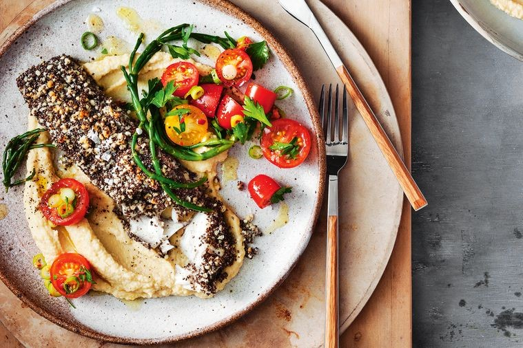 Chia-Crusted Barramundi with Chickpea Puree