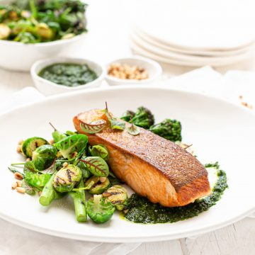 Crispy Skin Huon Salmon with Chargrilled Brussel Sprout and Broccolini Salad with Pesto