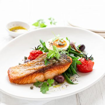 Crispy Skinned Huon Salmon with Nicoise Salad