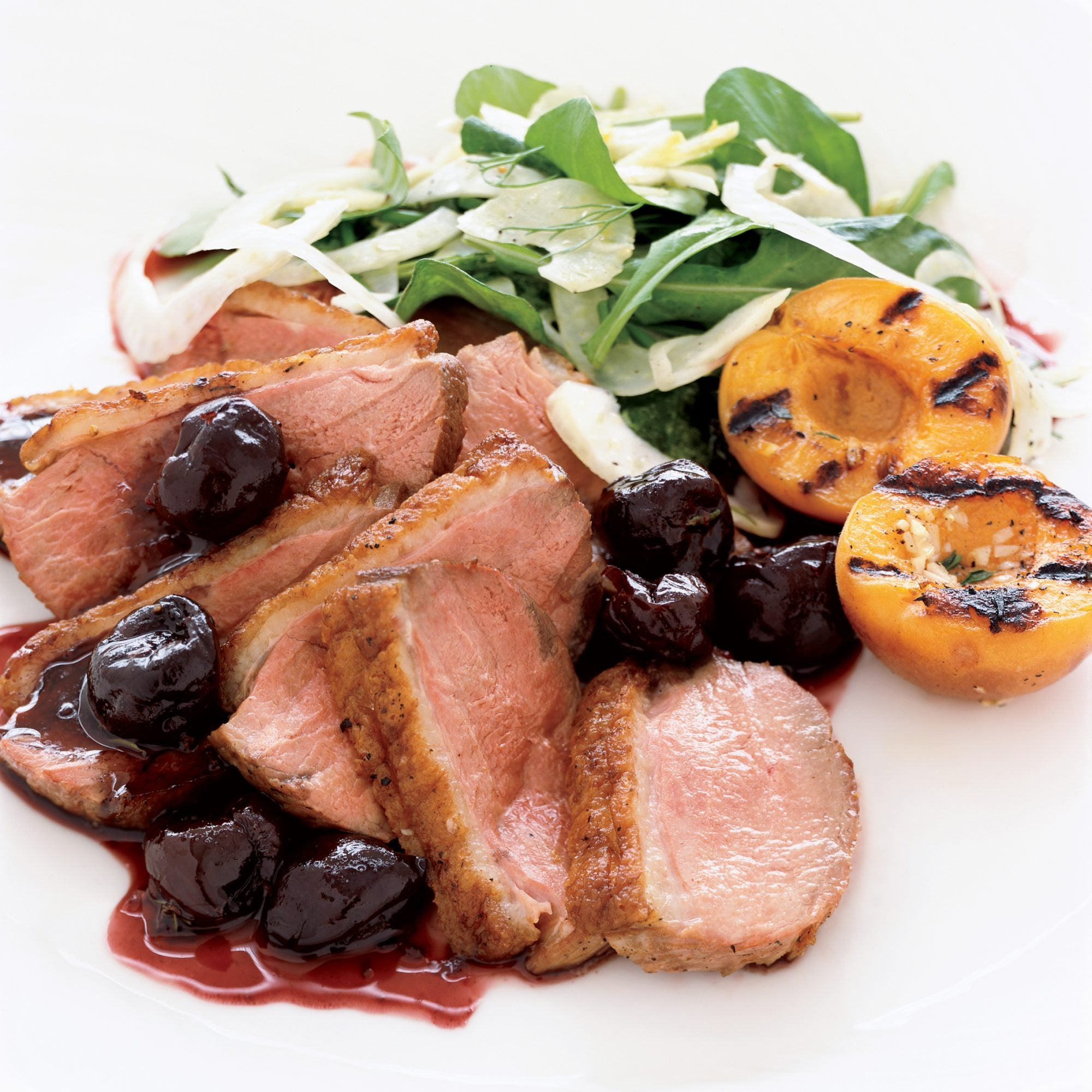 Duck Breast with Fresh Cherry Sauce and Grilled Apricots