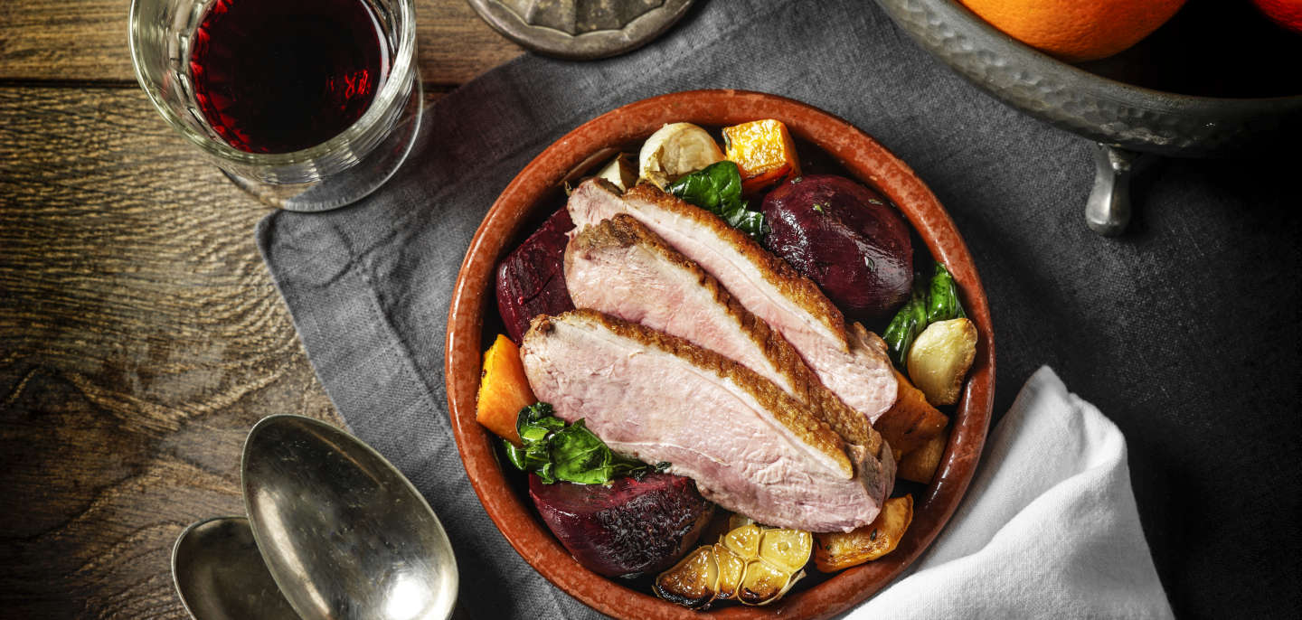 Duck Breasts with Roasted Beetroot and Butternut Squash