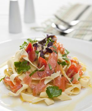 Fettuccine with salsa, Huon Premium Cold Smoked Salmon and almonds