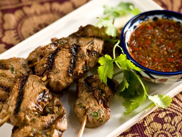 Grilled Pork Skewers with Chile Sauce