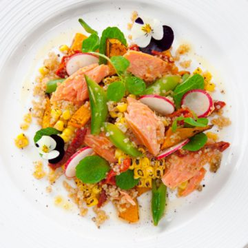 Hot Smoked Ocean Trout with quinoa, grilled corn, sugar snaps, mint and roasted pumpkin