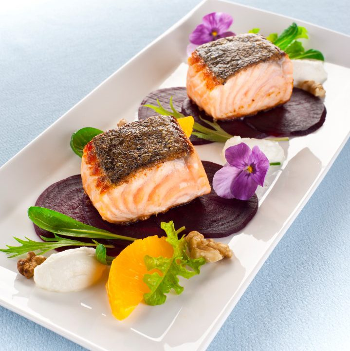 Huon Salmon with Goat's Cheese and Beetroot Salad