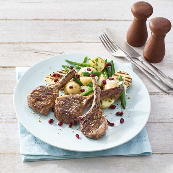 Lamb Cutlets with Haloumi, Bean and Potato Salad