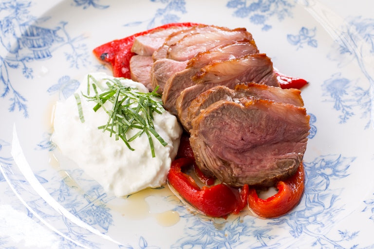 Lamb Rump with Burrata and Marinated Romano Peppers