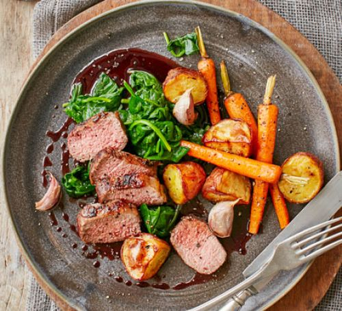 Loin of Lamb, Wilted Spinach, Carrots & Rosemary Potatoes
