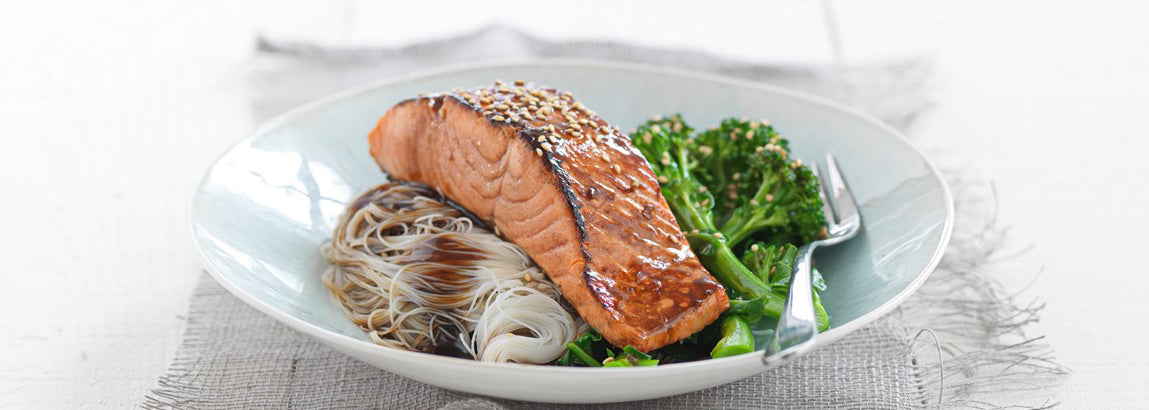 Manuka Honey & Soy Glazed Regal Salmon with Glass Noodles