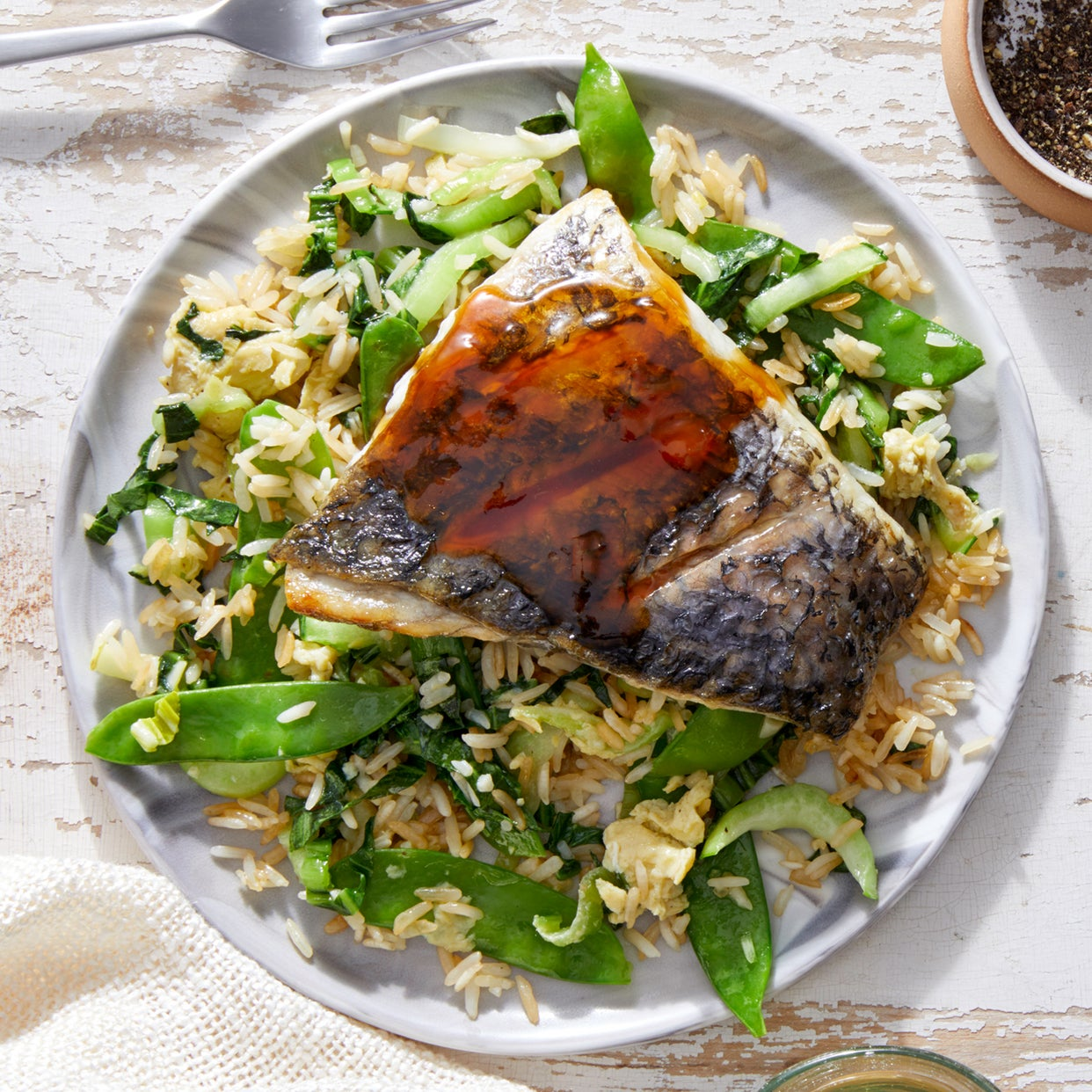 Orange-Soy Barramundi & Fried Rice