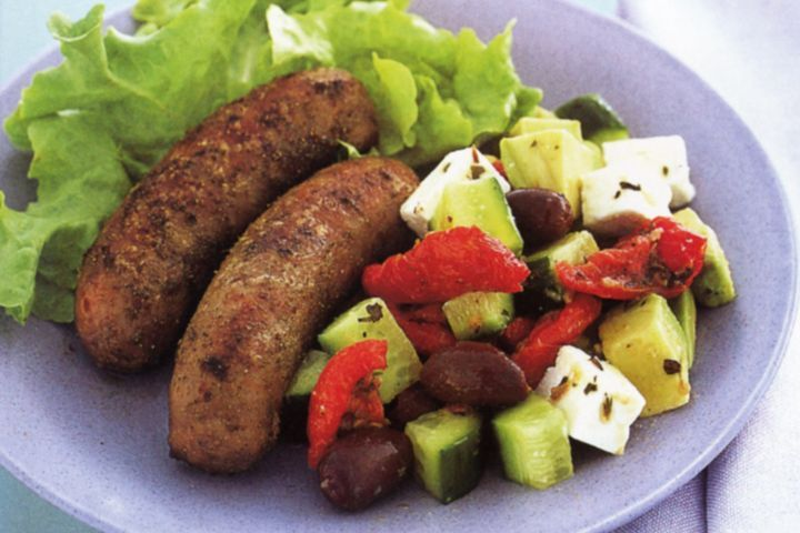 Oregano Pork Sausages with Greek Salad