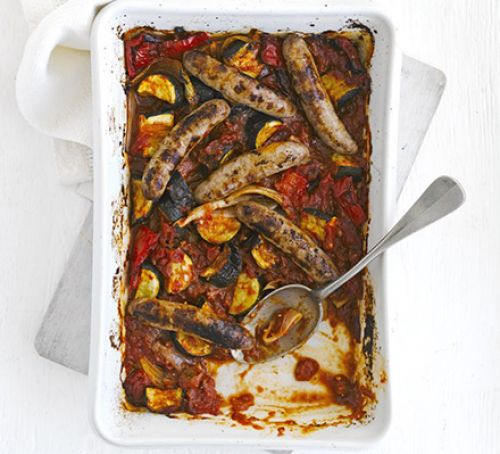 Oven-Baked Ratatouille & Sausages