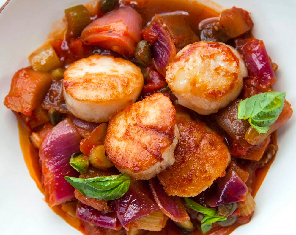 Pan-Fried Sea Scallops with Caponata