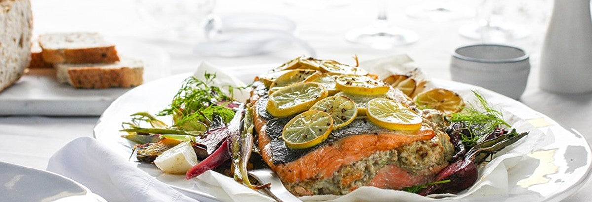 Regal King Salmon Stuffed with Blue Cheese, Chestnuts & Smoked Oysters