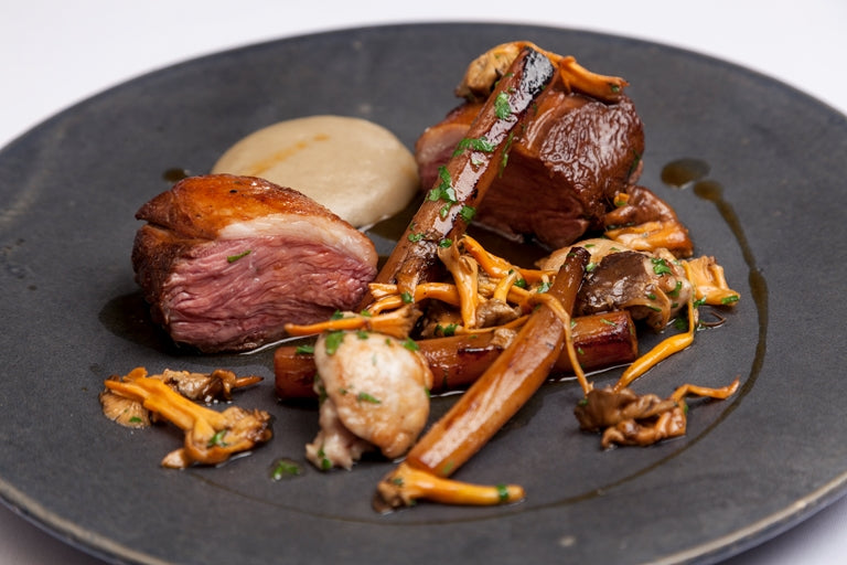 Roasted Lamb Rump with Salsify and Wild Mushrooms