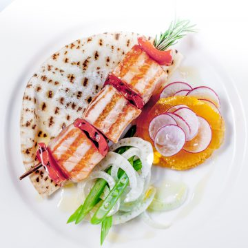 Rosemary Skewered Huon Salmon with Fennel, Beans and Flat Bread