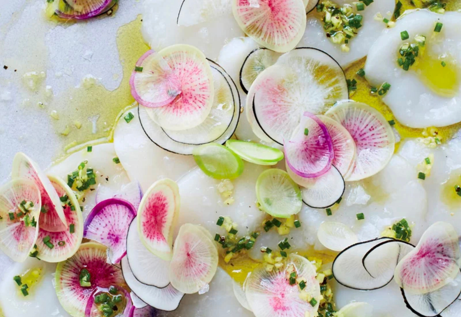 Scallop Carpaccio with Hand-Cut Ginger-Chive Pesto