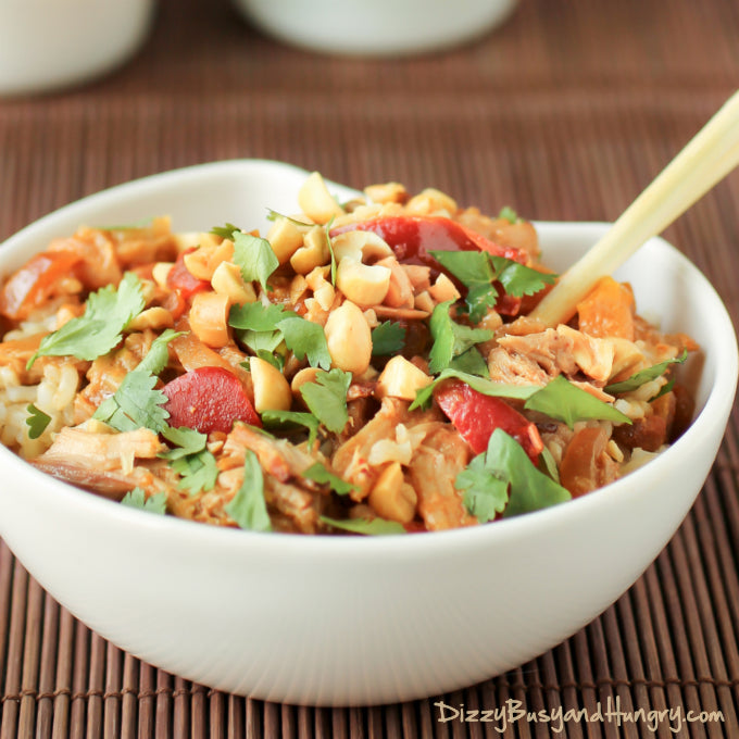 Slow cooker Thai spicy peanut chicken