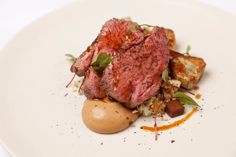 Sous Vide Lamb Rump with Cauliflower Couscous and Chocolate Jelly (lamb rump)