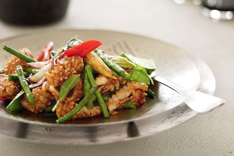 Spicy Stir-Fried Squid with Snake Beans and Baby Corn