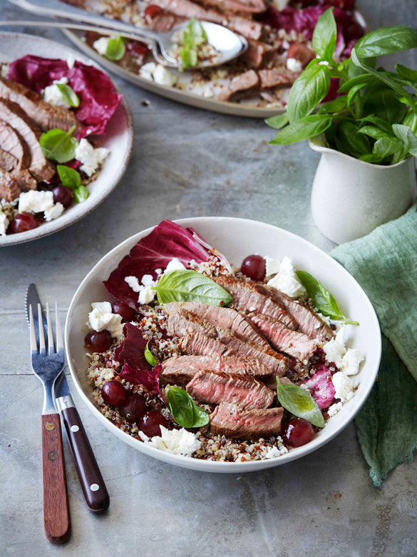 Warm Beef Salad with Grape and Feta