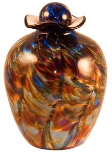 XL/Companion 400 Cubic Inch Rome Evening Funeral Glass Cremation Urn for Ashes